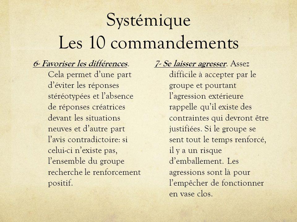 Systémique Les 10 commandements 6- Favoriser les différences. Cela permet dune part déviter les réponses stéréotypées et labsence de réponses créatric