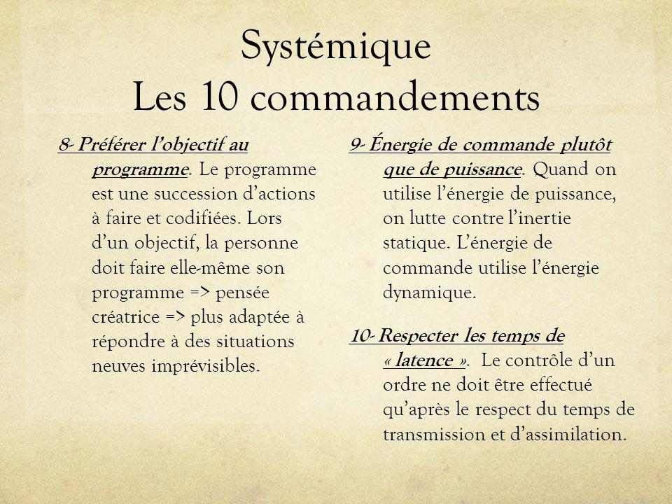 Systémique Les 10 commandements 8- Préférer lobjectif au programme. Le programme est une succession dactions à faire et codifiées. Lors dun objectif,