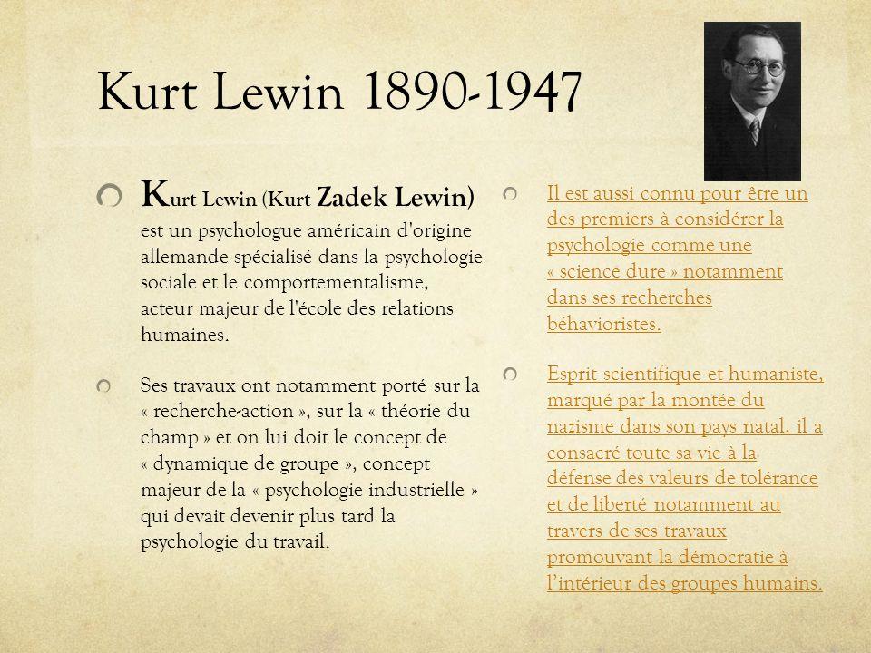 Kurt Lewin 1890-1947 K urt Lewin (Kurt Zadek Lewin) est un psychologue américain d'origine allemande spécialisé dans la psychologie sociale et le comp