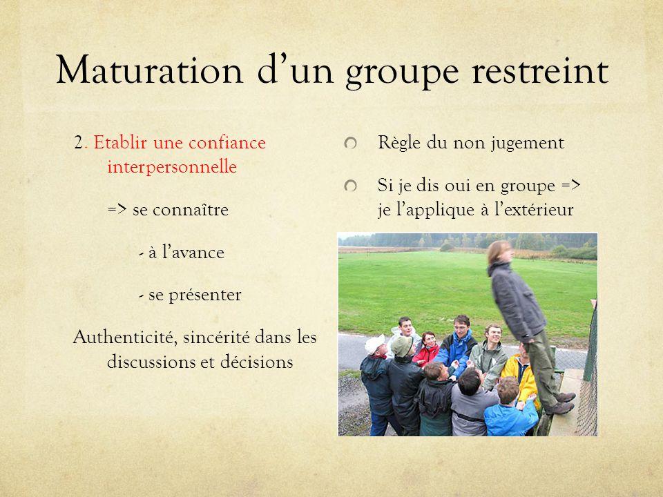 Maturation dun groupe restreint 2. Etablir une confiance interpersonnelle => se connaître - à lavance - se présenter Authenticité, sincérité dans les