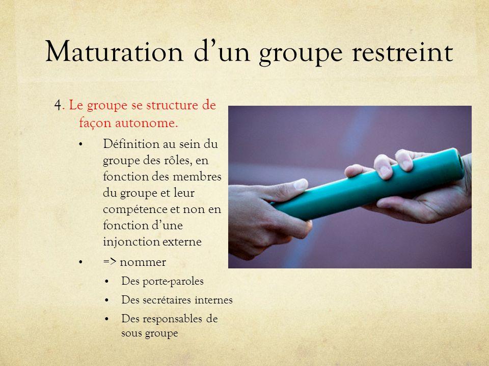 Maturation dun groupe restreint 4. Le groupe se structure de façon autonome. Définition au sein du groupe des rôles, en fonction des membres du groupe