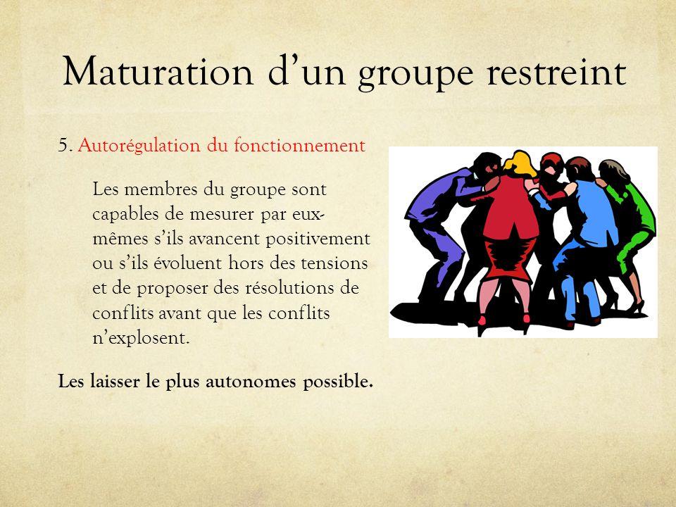 Maturation dun groupe restreint 5. Autorégulation du fonctionnement Les membres du groupe sont capables de mesurer par eux- mêmes sils avancent positi