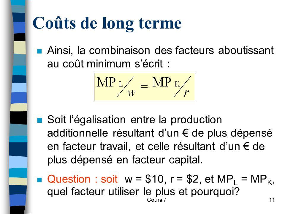 Cours 711 Coûts de long terme n Ainsi, la combinaison des facteurs aboutissant au coût minimum sécrit : n Soit légalisation entre la production additi