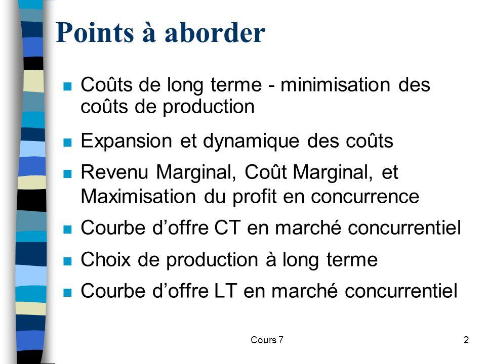 Cours 72 Points à aborder n Coûts de long terme - minimisation des coûts de production n Expansion et dynamique des coûts n Revenu Marginal, Coût Marg