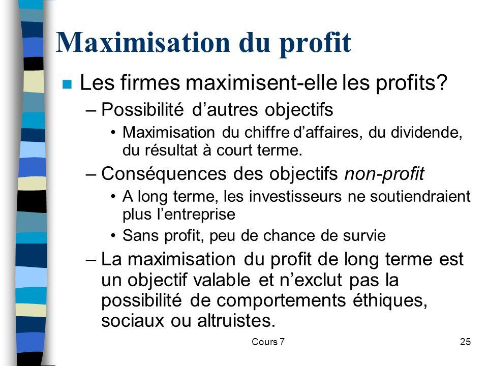 Cours 725 Maximisation du profit n Les firmes maximisent-elle les profits? –Possibilité dautres objectifs Maximisation du chiffre daffaires, du divide