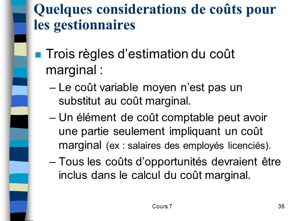 Cours 736 Quelques considerations de coûts pour les gestionnaires n Trois règles destimation du coût marginal : –Le coût variable moyen nest pas un su