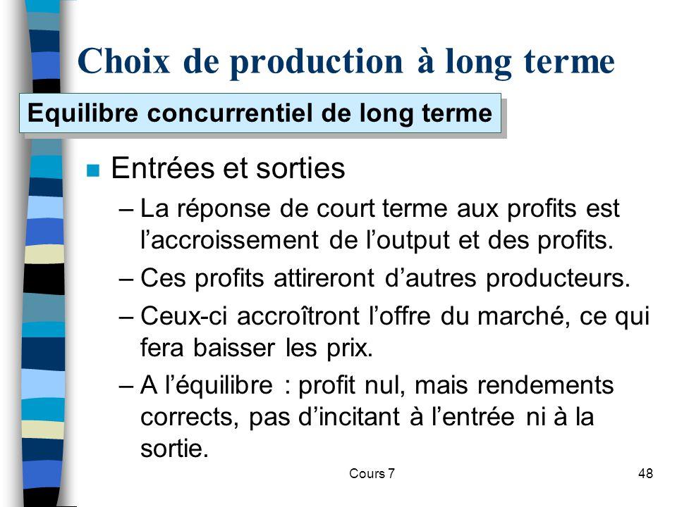 Cours 748 Choix de production à long terme n Entrées et sorties –La réponse de court terme aux profits est laccroissement de loutput et des profits. –