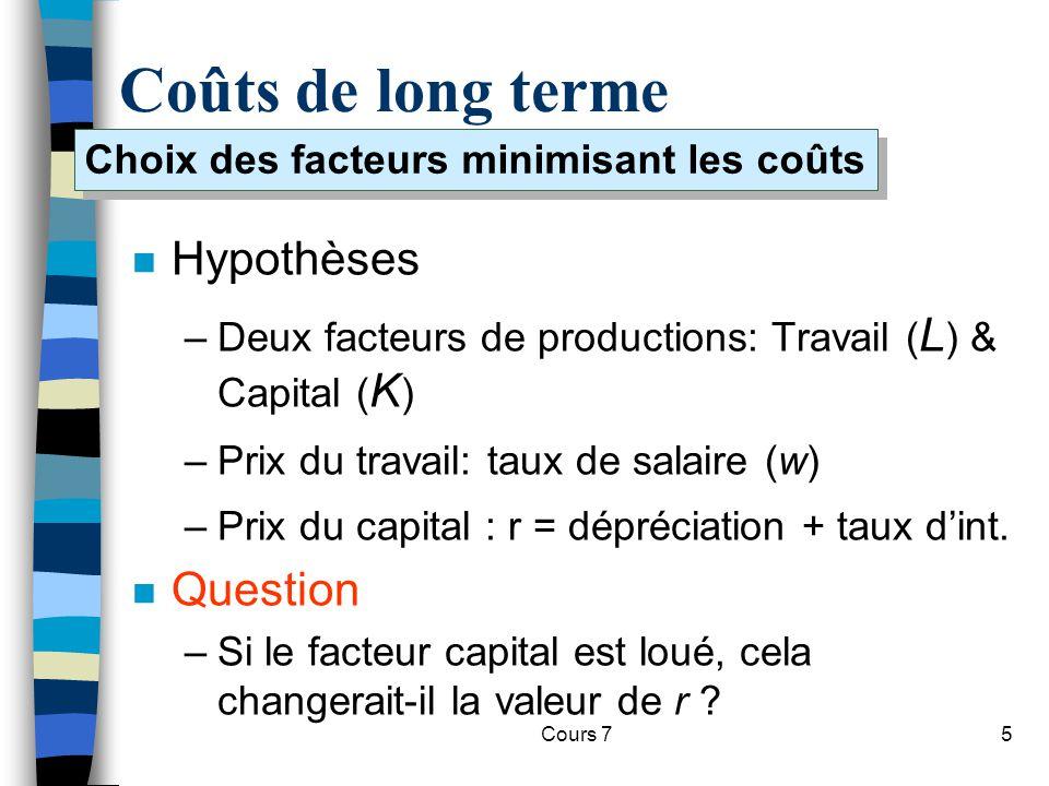 Cours 75 Coûts de long terme n Hypothèses –Deux facteurs de productions: Travail ( L ) & Capital ( K ) –Prix du travail: taux de salaire (w) –Prix du