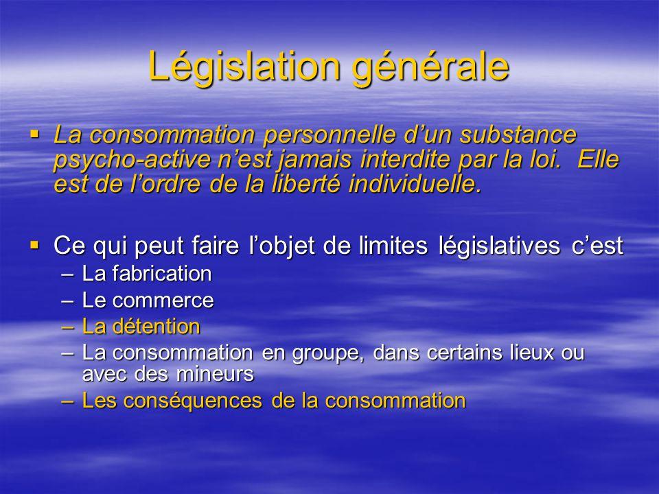 Législation générale La consommation personnelle dun substance psycho-active nest jamais interdite par la loi. Elle est de lordre de la liberté indivi