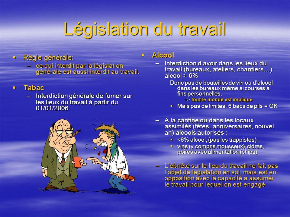 Législation du travail Règle générale: Règle générale: –ce qui interdit par la législation générale est aussi interdit au travail. Tabac Tabac –Interd