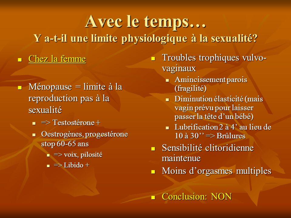 Avec le temps… Y a-t-il une limite physiologique à la sexualité? Chez la femme Chez la femme Ménopause = limite à la reproduction pas à la sexualité M