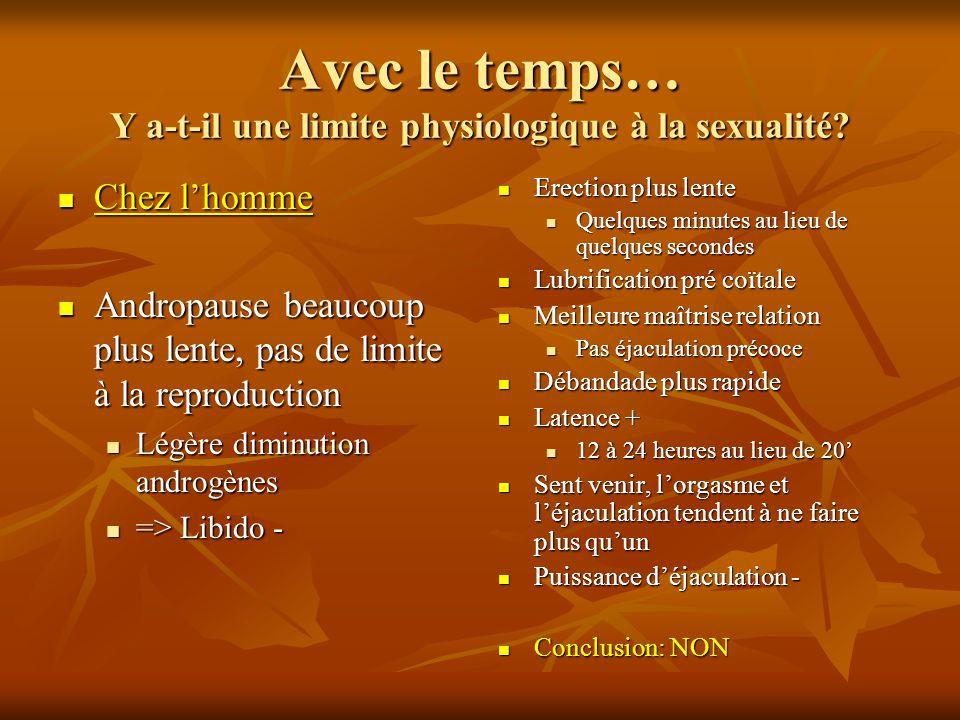 Avec le temps… Y a-t-il une limite physiologique à la sexualité? Chez lhomme Chez lhomme Andropause beaucoup plus lente, pas de limite à la reproducti