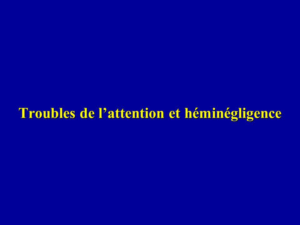 Geschwind (1982): l hémisphère droit serait dominant pour l attention, c est-à-dire pour un groupe de fonctions en rapport avec la surveillance de l environnement et la prise de décision sur changements de l attention tenant compte de l importance des stimuli pour la survie attention, émotion, traitement des configurations spatiales -toutes liées à cette fonction vitale de surveillance de l environnement, et toutes montrant une dominance de l hémisphère droit.