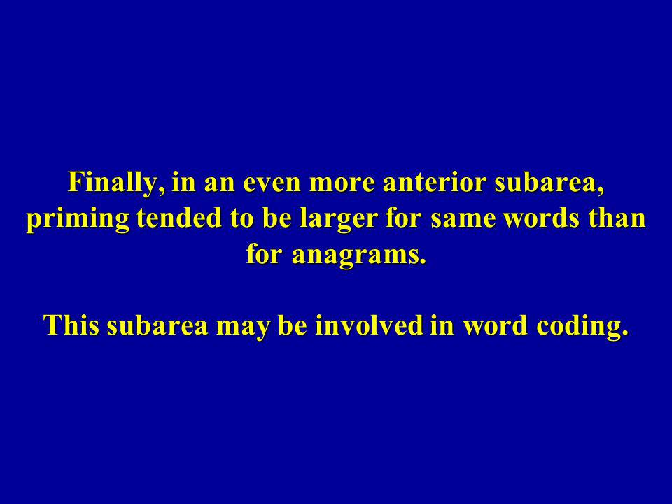 Finally, in an even more anterior subarea, priming tended to be larger for same words than for anagrams. This subarea may be involved in word coding.