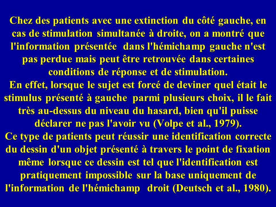 Chez des patients avec une extinction du côté gauche, en cas de stimulation simultanée à droite, on a montré que l'information présentée dans l'hémich