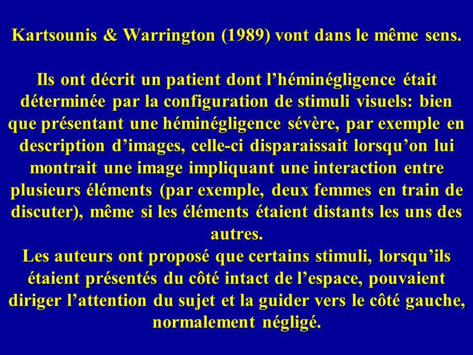 Kartsounis & Warrington (1989) vont dans le même sens. Ils ont décrit un patient dont lhéminégligence était déterminée par la configuration de stimuli