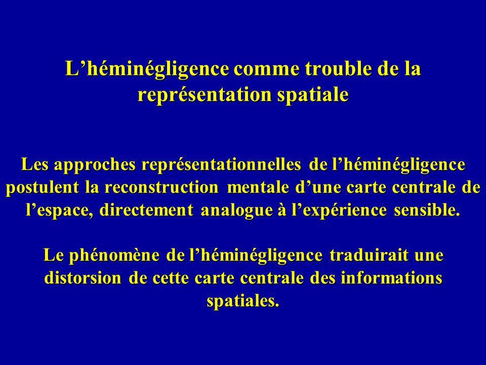 Lhéminégligence comme trouble de la représentation spatiale Les approches représentationnelles de lhéminégligence postulent la reconstruction mentale dune carte centrale de lespace, directement analogue à lexpérience sensible.