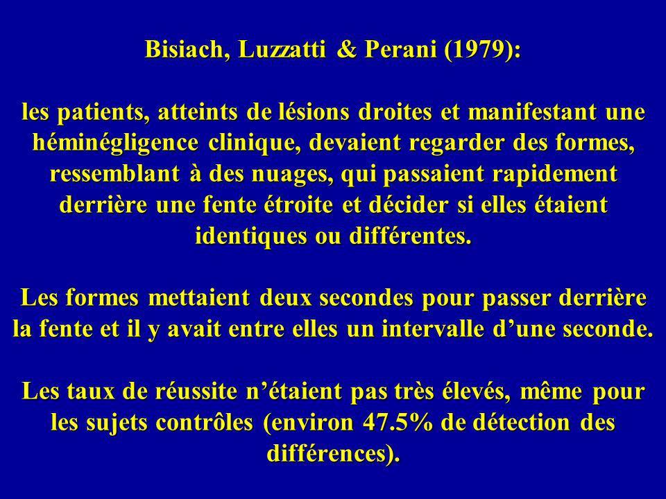 Bisiach, Luzzatti & Perani (1979): les patients, atteints de lésions droites et manifestant une héminégligence clinique, devaient regarder des formes, ressemblant à des nuages, qui passaient rapidement derrière une fente étroite et décider si elles étaient identiques ou différentes.