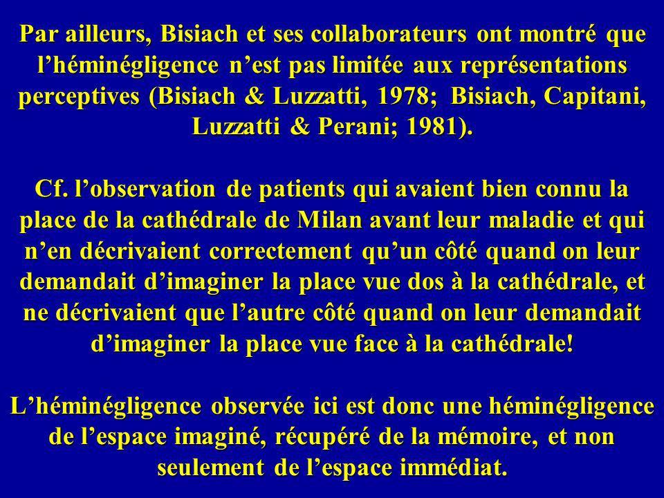 Par ailleurs, Bisiach et ses collaborateurs ont montré que lhéminégligence nest pas limitée aux représentations perceptives (Bisiach & Luzzatti, 1978;