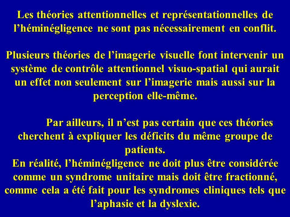 Les théories attentionnelles et représentationnelles de lhéminégligence ne sont pas nécessairement en conflit. Plusieurs théories de limagerie visuell