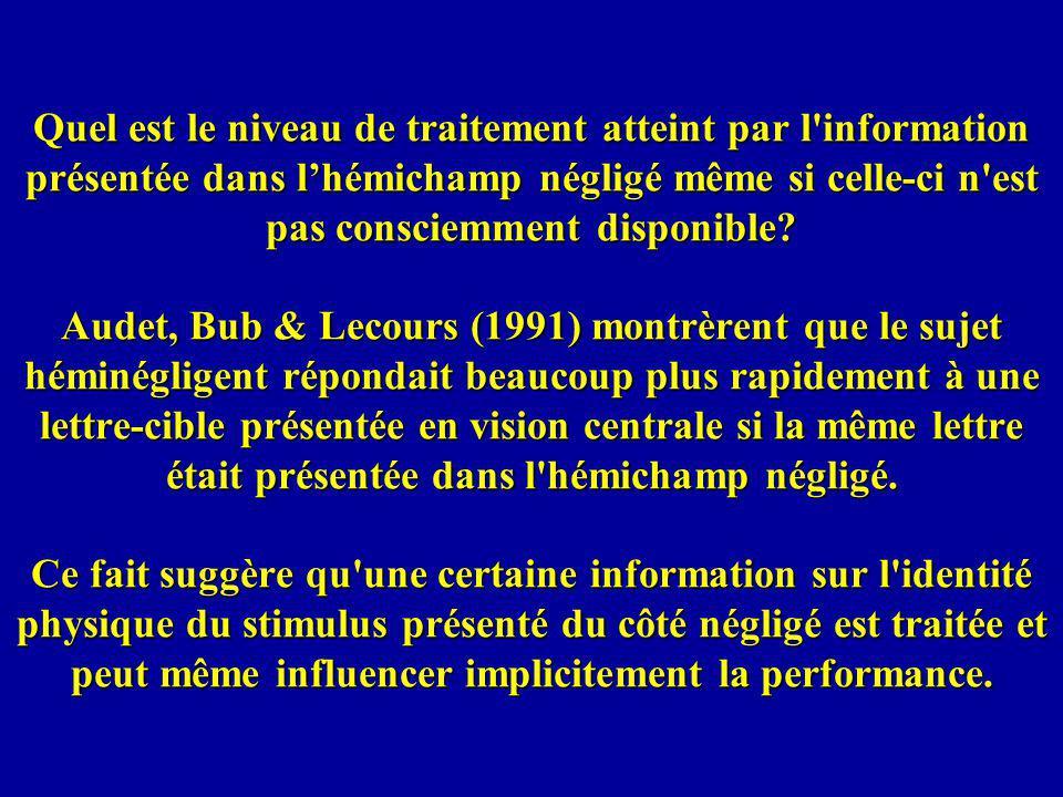 Quel est le niveau de traitement atteint par l information présentée dans lhémichamp négligé même si celle-ci n est pas consciemment disponible.