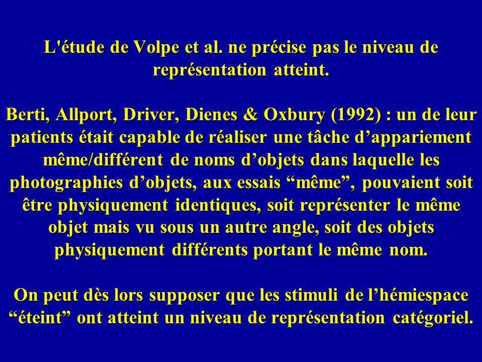 L'étude de Volpe et al. ne précise pas le niveau de représentation atteint. Berti, Allport, Driver, Dienes & Oxbury (1992) : un de leur patients était