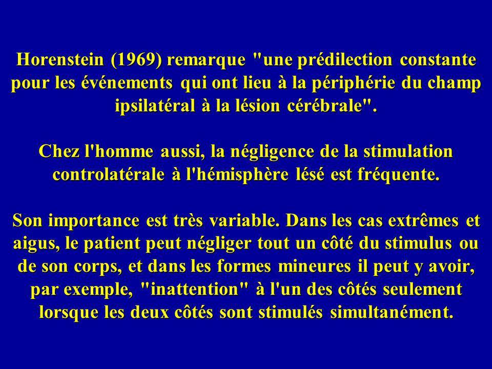 Horenstein (1969) remarque une prédilection constante pour les événements qui ont lieu à la périphérie du champ ipsilatéral à la lésion cérébrale .