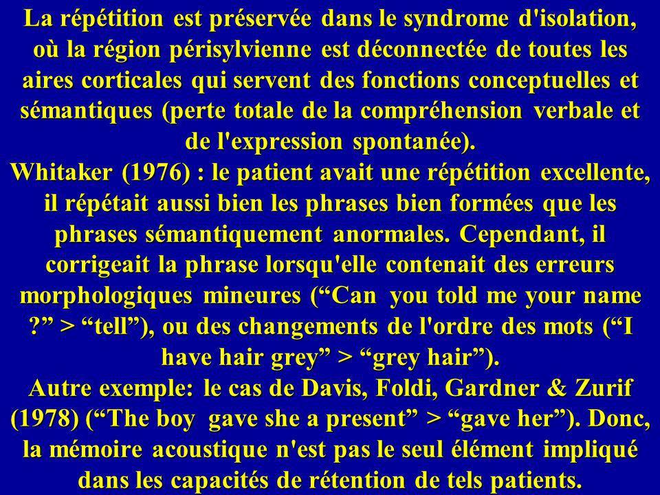 La répétition est préservée dans le syndrome d isolation, où la région périsylvienne est déconnectée de toutes les aires corticales qui servent des fonctions conceptuelles et sémantiques (perte totale de la compréhension verbale et de l expression spontanée).