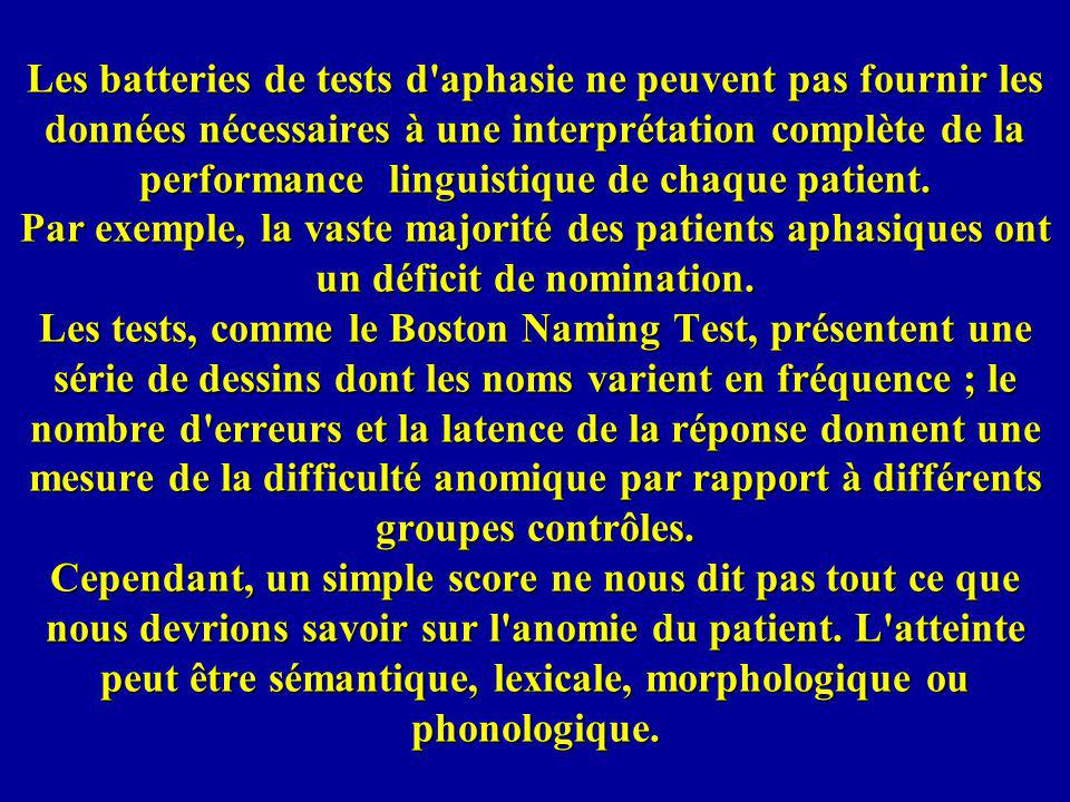 Les batteries de tests d'aphasie ne peuvent pas fournir les données nécessaires à une interprétation complète de la performance linguistique de chaque