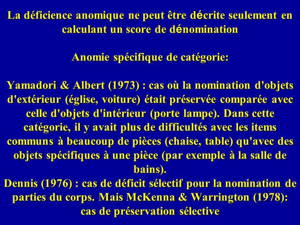 La déficience anomique ne peut être d é crite seulement en calculant un score de d é nomination Anomie spécifique de catégorie: Yamadori & Albert (1973) : cas où la nomination d objets d extérieur (église, voiture) était préservée comparée avec celle d objets d intérieur (porte lampe).