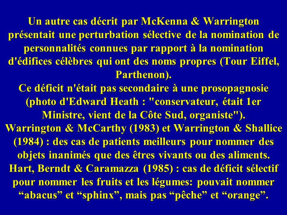 Un autre cas décrit par McKenna & Warrington présentait une perturbation sélective de la nomination de personnalités connues par rapport à la nominati