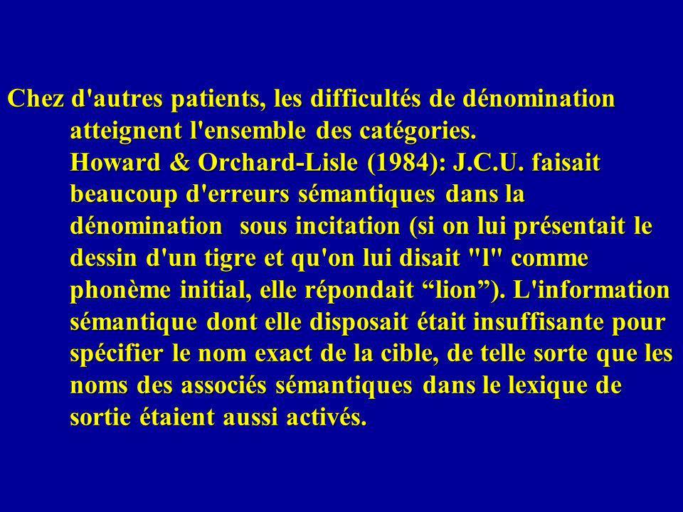 Chez d'autres patients, les difficultés de dénomination atteignent l'ensemble des catégories. Howard & Orchard-Lisle (1984): J.C.U. faisait beaucoup d