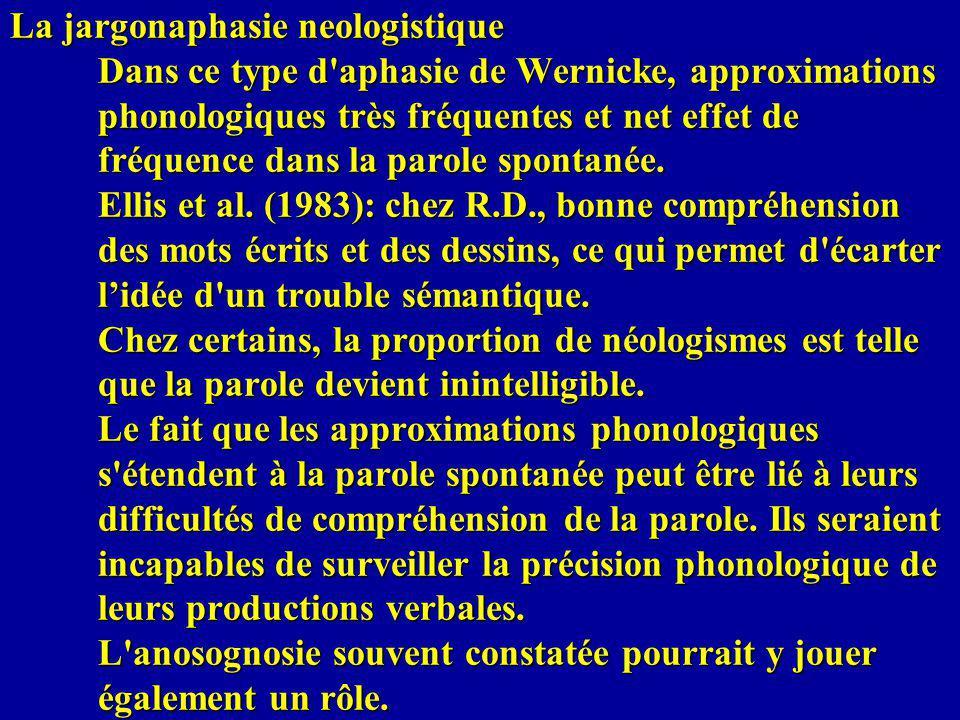 La jargonaphasie neologistique Dans ce type d'aphasie de Wernicke, approximations phonologiques très fréquentes et net effet de fréquence dans la paro