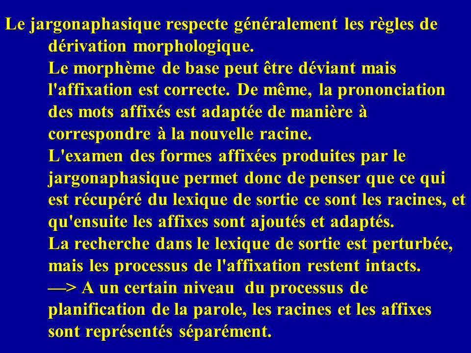 Le jargonaphasique respecte généralement les règles de dérivation morphologique. Le morphème de base peut être déviant mais l'affixation est correcte.