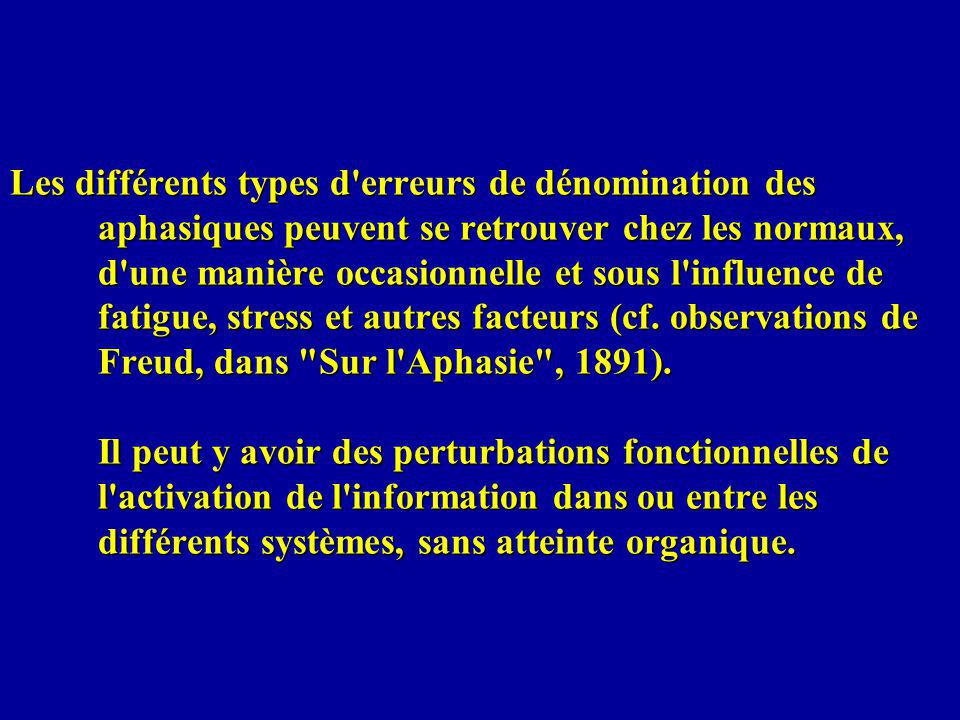 Les différents types d erreurs de dénomination des aphasiques peuvent se retrouver chez les normaux, d une manière occasionnelle et sous l influence de fatigue, stress et autres facteurs (cf.