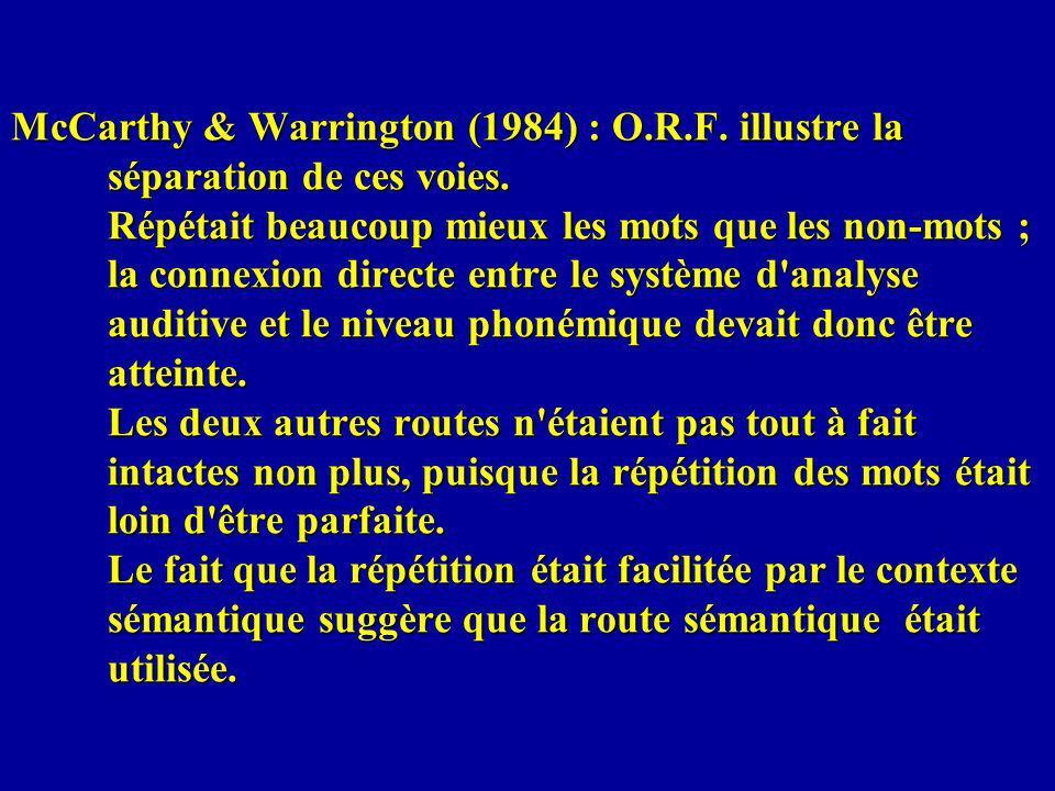 McCarthy & Warrington (1984) : O.R.F. illustre la séparation de ces voies. Répétait beaucoup mieux les mots que les non-mots ; la connexion directe en