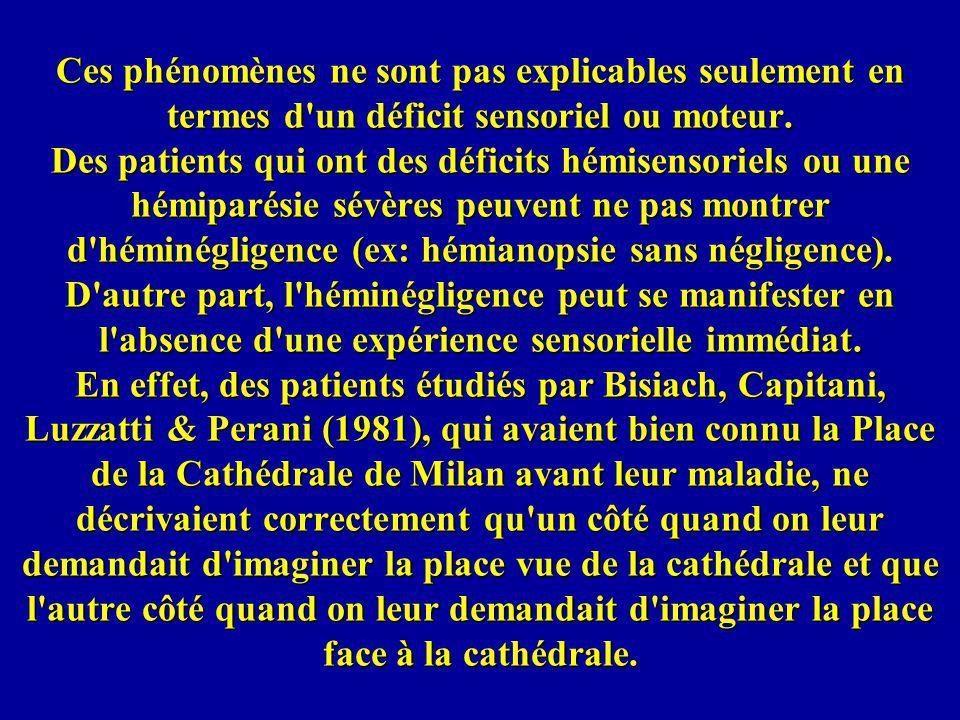 Posner a cherché à relier le syndrome dhéminégligence aux théories cognitives de lattention.