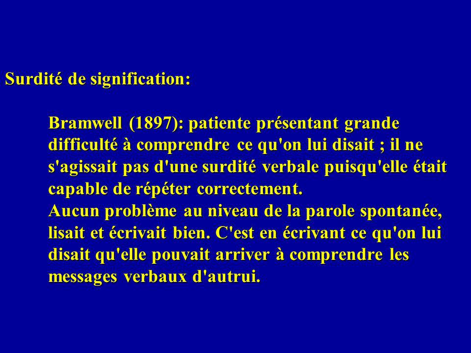 Surdité de signification: Bramwell (1897): patiente présentant grande difficulté à comprendre ce qu on lui disait ; il ne s agissait pas d une surdité verbale puisqu elle était capable de répéter correctement.