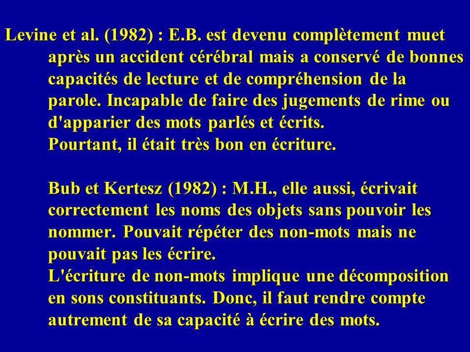 Levine et al. (1982) : E.B. est devenu complètement muet après un accident cérébral mais a conservé de bonnes capacités de lecture et de compréhension