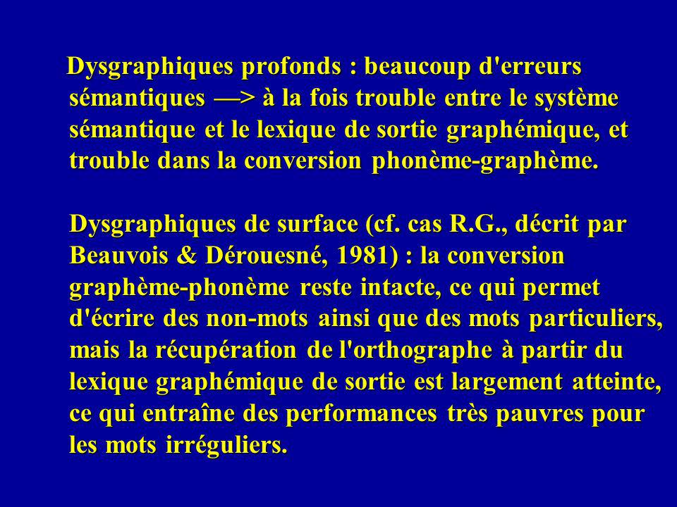 Dysgraphiques profonds : beaucoup d'erreurs sémantiques > à la fois trouble entre le système sémantique et le lexique de sortie graphémique, et troubl