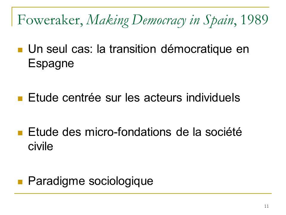 11 Foweraker, Making Democracy in Spain, 1989 Un seul cas: la transition démocratique en Espagne Etude centrée sur les acteurs individuels Etude des micro-fondations de la société civile Paradigme sociologique