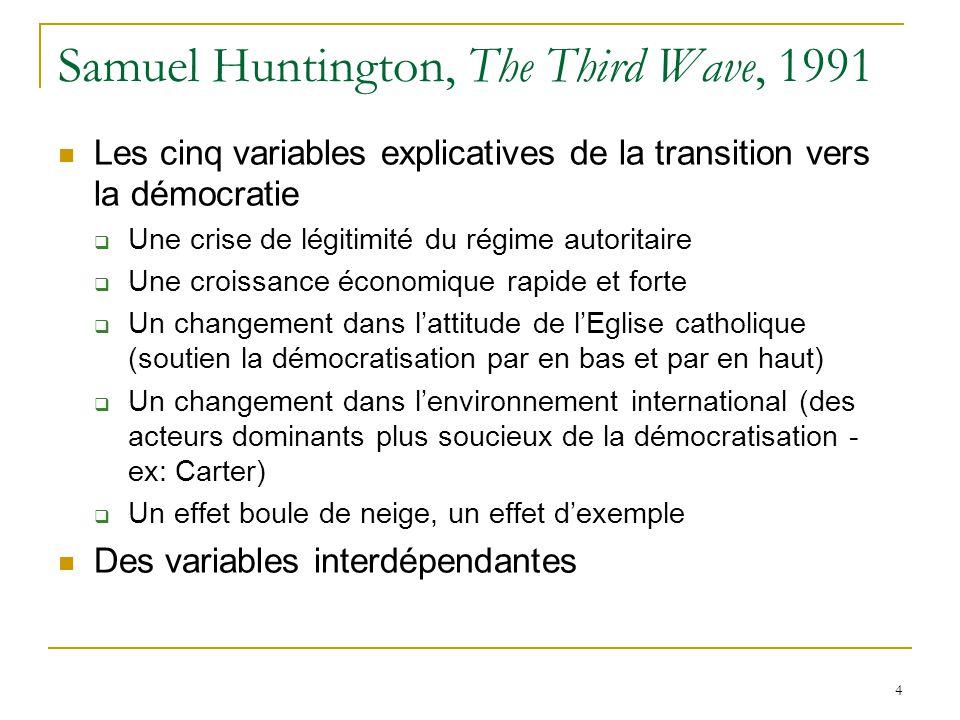 4 Samuel Huntington, The Third Wave, 1991 Les cinq variables explicatives de la transition vers la démocratie Une crise de légitimité du régime autoritaire Une croissance économique rapide et forte Un changement dans lattitude de lEglise catholique (soutien la démocratisation par en bas et par en haut) Un changement dans lenvironnement international (des acteurs dominants plus soucieux de la démocratisation - ex: Carter) Un effet boule de neige, un effet dexemple Des variables interdépendantes