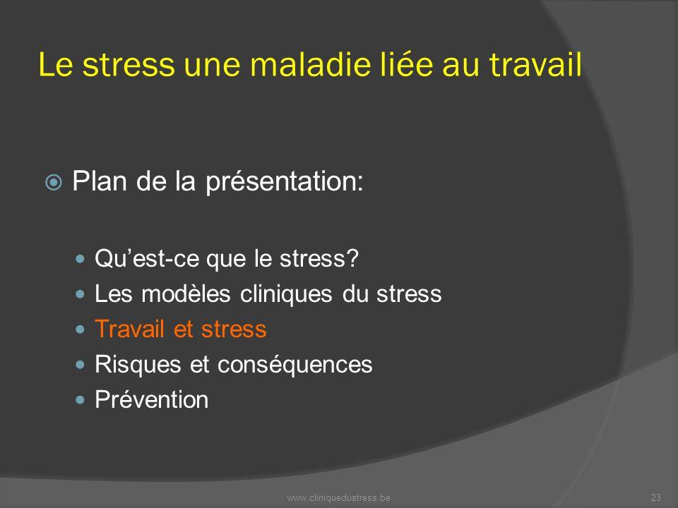 Le stress une maladie liée au travail Plan de la présentation: Quest-ce que le stress? Les modèles cliniques du stress Travail et stress Risques et co