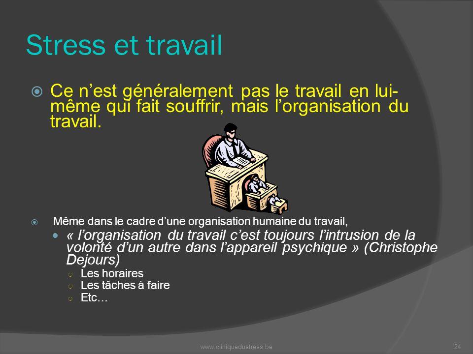 Stress et travail Ce nest généralement pas le travail en lui- même qui fait souffrir, mais lorganisation du travail. Même dans le cadre dune organisat
