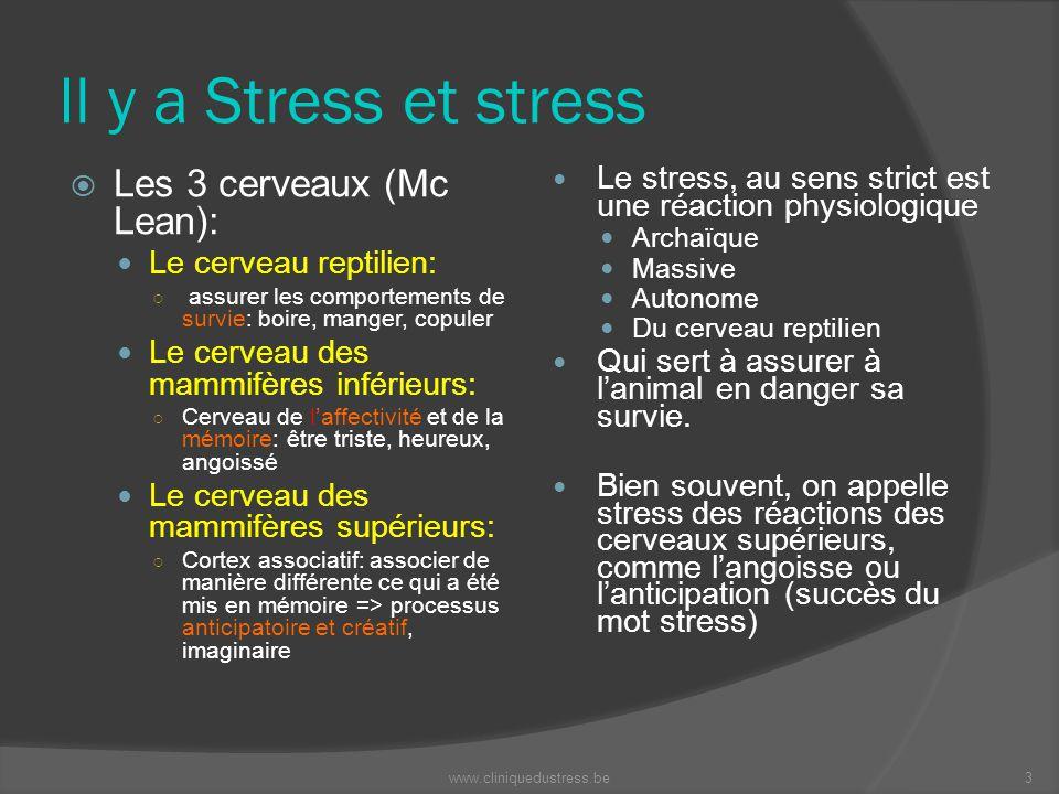 Il y a Stress et stress Le stress, au sens strict est une réaction physiologique Archaïque Massive Autonome Du cerveau reptilien Qui sert à assurer à