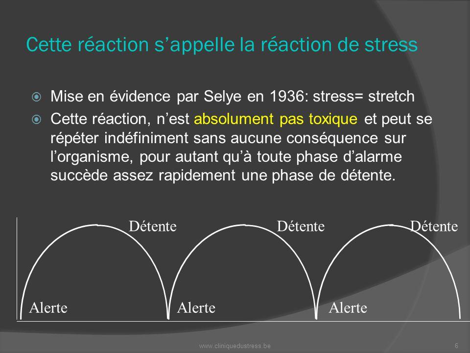 Cette réaction sappelle la réaction de stress Mise en évidence par Selye en 1936: stress= stretch Cette réaction, nest absolument pas toxique et peut