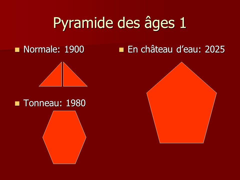 Pyramide des âges 1 Normale: 1900 Normale: 1900 Tonneau: 1980 Tonneau: 1980 En château deau: 2025 En château deau: 2025