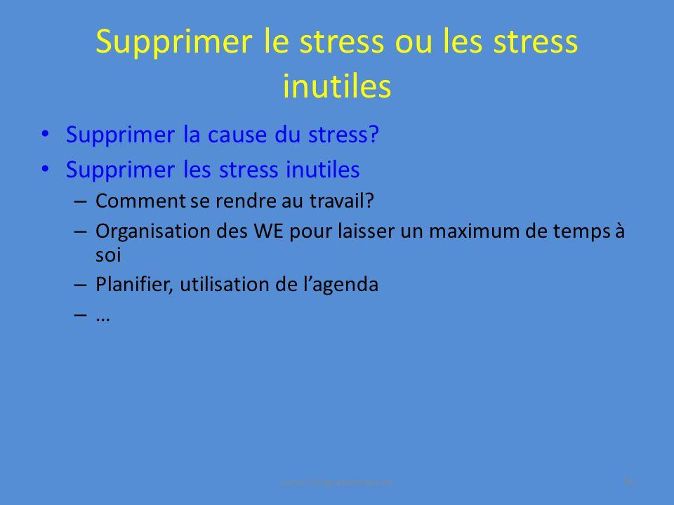 Supprimer le stress ou les stress inutiles Supprimer la cause du stress.