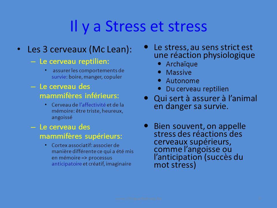 Il y a Stress et stress Le stress, au sens strict est une réaction physiologique Archaïque Massive Autonome Du cerveau reptilien Qui sert à assurer à lanimal en danger sa survie.