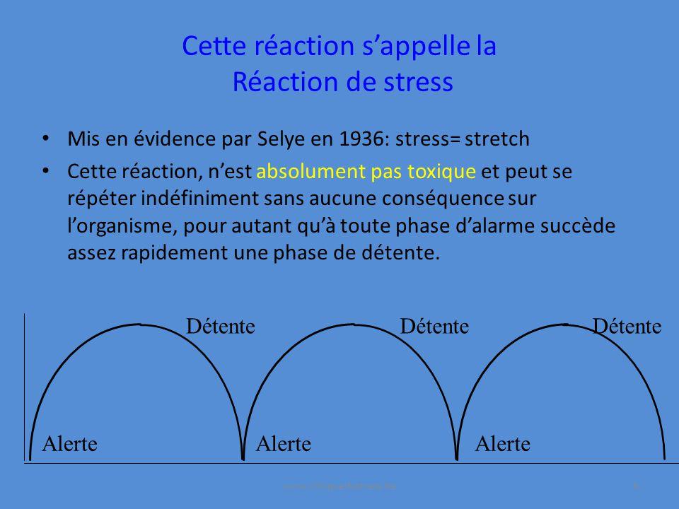 Cette réaction sappelle la Réaction de stress Mis en évidence par Selye en 1936: stress= stretch Cette réaction, nest absolument pas toxique et peut se répéter indéfiniment sans aucune conséquence sur lorganisme, pour autant quà toute phase dalarme succède assez rapidement une phase de détente.